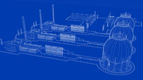 3d rendering of a blueprint industrial city with detailed object. S Royalty Free Stock Photography