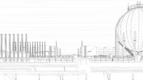 3d rendering of a blueprint industrial city with detailed object. S Stock Images