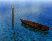 3d rendering Boat floating on the water. Boat floating on the water on pole anchor close up. Rock on the bottom Stock Photos