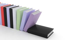 3d rendering books on white background. 3d rendering books standing on white background Stock Photo
