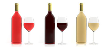 3d rendering bottles and glasses of wine on white background. 3d rendering bottles and crystal glasses of wine on white background Stock Photo
