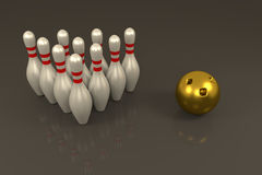 3D rendering of Bowling pins and golden ball Stock Photo