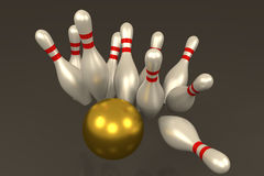 3D rendering of Bowling pins hit by golden ball. In grey background Royalty Free Stock Image