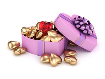 3D rendering box in heart shape. 3D rendering pink heart shaped box with ribbon and bow Royalty Free Stock Images