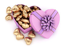 3D rendering box in heart shape. 3D rendering pink heart shaped box with ribbon and bow Royalty Free Stock Photos
