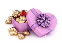 3D rendering box in heart shape. 3D rendering pink heart shaped box with ribbon and bow Stock Photography