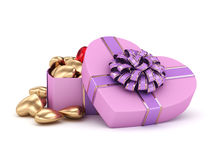 3D rendering box in heart shape. 3D rendering pink heart shaped box with ribbon and bow Royalty Free Stock Image