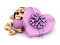 3D rendering box in heart shape. 3D rendering pink heart shaped box with ribbon and bow Royalty Free Stock Photography