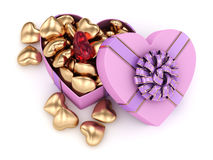 3D rendering box in heart shape. 3D rendering pink heart shaped box with ribbon and bow Stock Image