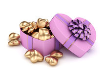 3D rendering box in heart shape Royalty Free Stock Image