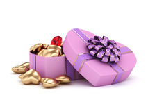 3D rendering box in heart shape. 3D rendering pink heart shaped box with ribbon and bow Stock Photos