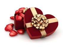 3D rendering box in heart shape. 3D rendering red box in heart shape Stock Image