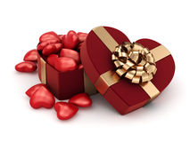 3D rendering box in heart shape. 3D rendering red box in heart shape Royalty Free Stock Photography