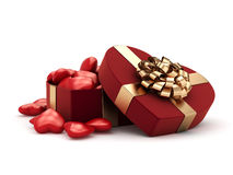 3D rendering box in heart shape. 3D rendering red box in heart shape Royalty Free Stock Image