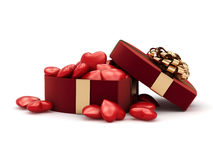 3D rendering box in heart shape. 3D rendering red box in heart shape Stock Images