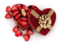 3D rendering box in heart shape. 3D rendering red box in heart shape Royalty Free Stock Images