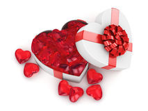 3D rendering box in heart shape. 3D rendering white box in the shape of a heart with a red ribbon Stock Image