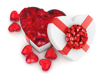 3D rendering box in heart shape. 3D rendering white box in the shape of a heart with a red ribbon Royalty Free Stock Photos
