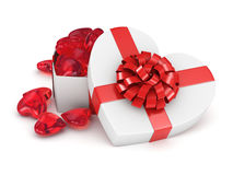 3D rendering box in heart shape. 3D rendering white box in the shape of a heart with a red ribbon Stock Photos