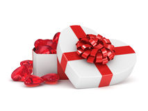 3D rendering box in heart shape. 3D rendering white box in the shape of a heart with a red ribbon Stock Photography