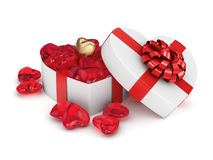 3D rendering box in heart shape. 3D rendering white box in the shape of a heart with a red ribbon Royalty Free Stock Photo
