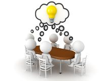 3D Rendering of brainstorming an idea at a meeting. 3D Rendering isolated on white royalty free illustration
