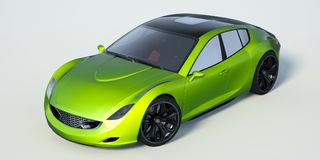 3D rendering - generic concept car. 3D rendering of a brand-less generic concept car in studio environment Stock Images