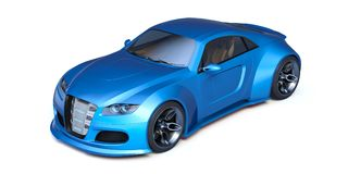 3D rendering - generic concept car. 3D rendering of a brand-less generic concept car in studio environment Stock Photo