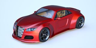 3D rendering - generic concept car. 3D rendering of a brand-less generic concept car in studio environment Royalty Free Stock Photo