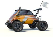3D rendering - generic concept car. 3D rendering of a brand-less generic concept car in studio environment. Small concept ATV Stock Photos