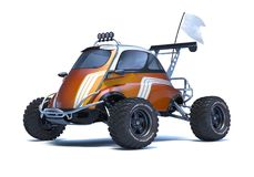 3D rendering - generic concept car. 3D rendering of a brand-less generic concept car in studio environment. Small concept ATV Stock Photo