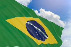 3D rendering of Brazil flag waving on blue sky background Stock Photos