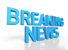 3d rendering of Breaking News blue glossy text on white backgrou Stock Photography