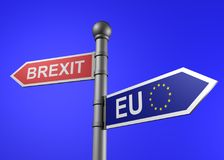 3d rendering of brexit-eu guidepost Royalty Free Stock Photos