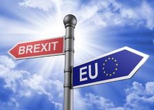 3d rendering of brexit-eu guidepost. On a blue sky background Stock Photos