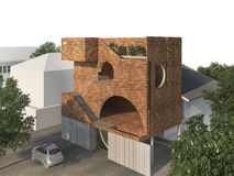3d rendering brick design box building with nature surrounding royalty free illustration