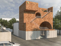 3d rendering brick design box building with tree surrounding Royalty Free Stock Images