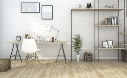 3d rendering brick style living room with built in shelf Royalty Free Stock Photo