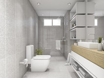 3d rendering bright bathroom with shower Stock Image