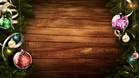 3D rendering of a bright festive Christmas frame on an old rustic wooden table to create an amazing atmosphere of magic. 3D rendering of a festive Christmas stock illustration