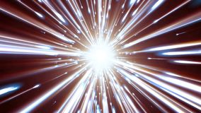 3D rendering light tunnel. Bright lines quickly move away from us. 3D rendering of bright lines moving away from us. Lines of light form a dynamic bright tunnel Royalty Free Stock Images