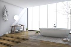 3d rendering bright modern bathroom near window in winter Stock Photography