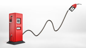3d rendering of a bright red fuel pump in side view on white background with a large nozzle attached to it white. Pointing upwards. New market possibilities Stock Photography