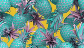 3D rendering of bright seamless pattern with pineapples. 3d rendering of bright tiki style seamless pattern with pineapples. Summer fun background. Trendy poster Stock Photos