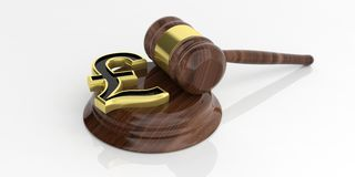 3d rendering British pound symbol and an auction gavel Royalty Free Stock Photo