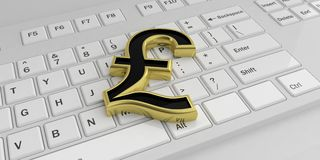 3d rendering British pound symbol on a keyboard Stock Image