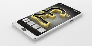 3d rendering British pound symbol on a smart phone Stock Photo