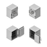 3d rendering of a broken metal safe box in open and closed state in double-sided isometric view. Stock Photo