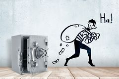3d rendering of broken open safe vault on white wooden floor and cartoon robber with money bag and `HA` sign on white