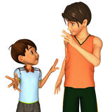 Brothers. 3d rendering of brothers in American toon style Stock Photos
